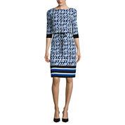 Liz Claiborne® 3/4-Sleeve Geo Stripe Border Shift Dress