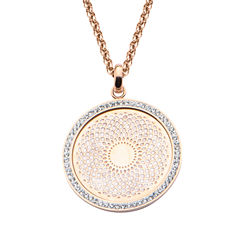 Rose Gold IP Stainless Steel Preciosa Crystal Rolo Chain Pendant Necklace