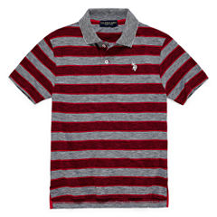 U.S. Polo Assn. Embroidered Short Sleeve Stripe Knit Polo Shirt - Big Kid Boys