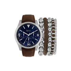 Mens Brown And Blue Strap Watch And Bracelet Set Mst5181S100-709