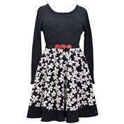 Bonnie Jean® Long-Sleeve Belted Floral Skater Dress - Girls 7-16