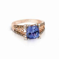 Le Vian Grand Sample Sale Blueberry Tanzanite® 1/5 CT.T.W. Vanilla Diamonds® & 1/4 CT. T.W. Chocolate Diamonds® in14K Strawberry Gold®