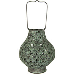 Oriental Furniture Fluted Wrought Iron Decorative Lantern