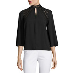 Worthington 3/4 Sleeve Choker Neck Blouse
