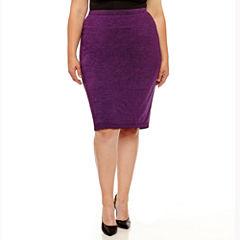 Liz Claiborne Knit Pencil Skirt-Plus
