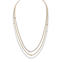 Made in Italy Tri-Tone Three-Chain Necklace