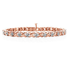 1/10 CT. T.W. Diamond Bracelet 14K Rose Gold Over Silver