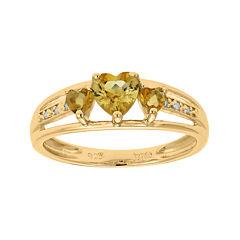 Genuine Citrine and Diamond-Accent 3-Stone Heart Ring