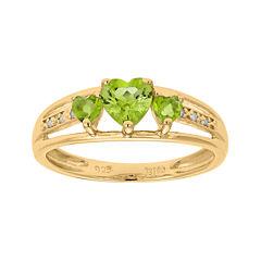 Genuine Peridot and Diamond-Accent 3-Stone Heart Ring