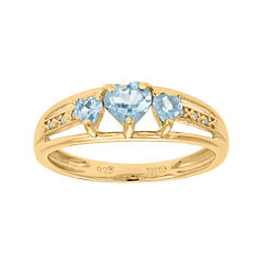 Lab-Created Aquamarine and Diamond-Accent 3-Stone Heart Ring