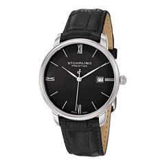 Stührling® Original Mens Black Leather Strap Watch