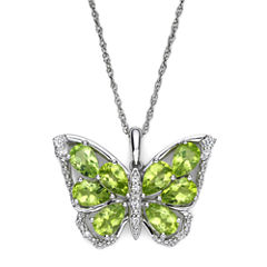 Peridot & Lab-Created White Sapphire Sterling Silver Butterfly Pendant Necklace