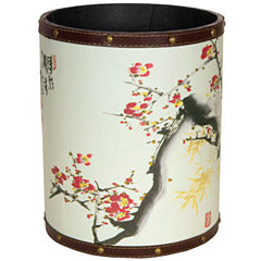 Oriental Furniture Cherry Blossom Waste Basket