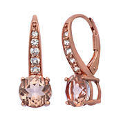 Simulated Morganite & Lab Created White Sapphire 14K Gold Over Silver Earrings