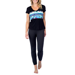 PL Movement By Pink Lotus Short Sleeve V Neck T-Shirt-Womens