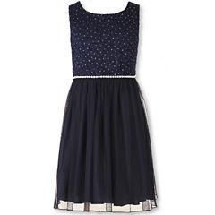 Speechless® Sleeveless Navy Sparkle Lace-to-Mesh Ballerina Dress - Girls 7-16 and Plus
