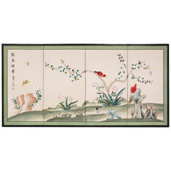 Oriental Furniture Red Birds Courting Wall Sculpture