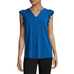 Worthington Sleeveless V Neck T-Shirt-Womens