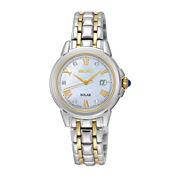 Seiko® Le Grand Sport Womens Diamond-Accent Two-Tone Stainless Steel Solar Bracelet Sport Watch SUT244
