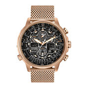 Citizen® Eco-Drive® Navihawk A-T Mens Rose-Tone Stainless Steel Chronograph Watch JY8033-51E