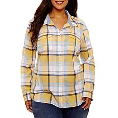 St. John's Bay Long Sleeve Classic Button Down Shirt-Plus
