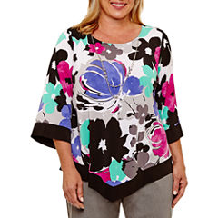 Alfred Dunner Ad Closet Case 3/4 Sleeve Crew Neck Knit Floral Blouse-Plus