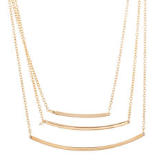 Yellow IP Stainless Steel Triple Bar Necklace