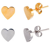 Two-Tone IP Stainless Steel 2-Pc. Heart Stud Earring Set