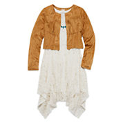 Arizona Sleeveless Lace Dress with Faux-Suede Jacket - Girls 7-16 and Plus