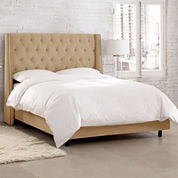 Andria Velvet Tufted Wingback Bed with Nailhead Trim