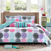 Mi Zone Audrina Polka Dot Quilt Set & Accessories