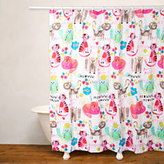 Crayola Purrty Cat No Liner Shower Curtain