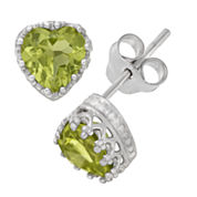 Sterling Silver Genuine Green Peridot Crown Earrings