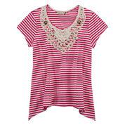 Speechless® Short-Sleeve Ribbed Crochet Lace Sharkbite Top - Girls 7-16