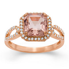 Womens Pink Quartz 14K Gold Over Silver Cocktail Ring