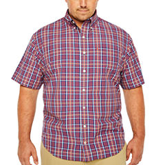 IZOD Short Sleeve Cooling Plaid Button-Front Woven Shirt-Big & Tall
