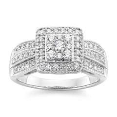 diamond blossom 1/2 CT. T.W. Diamond In 10K White Gold Ring