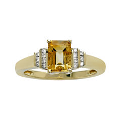 Genuine Citrine and Diamond-Accent 10K Yellow Gold Ring