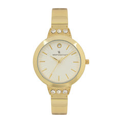 Worthington® Womens Gold Tone Crystal Accent Bracelet Watch