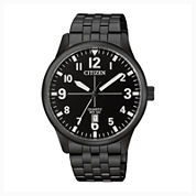 Citizen® Quartz Men'S Black Ion Plated Calendar Bracelet Watch Bi1055-52E