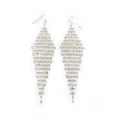 Vieste® Silver-Tone Large Crystal Kite Drop Earrings
