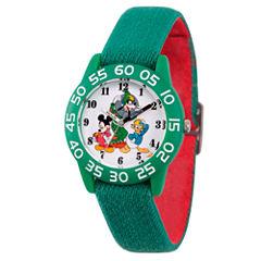 Disney Mickey Mouse Boys Green Strap Watch-Wds000219