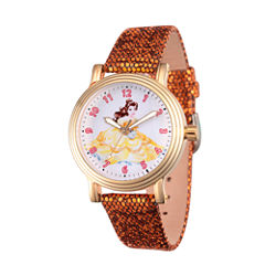 Disney Princess Belle Beauty and the Beast Womens Gold Tone Strap Watch-Wds000237