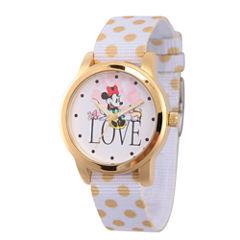 Disney Minnie Mouse Womens White Strap Watch-Wds000257