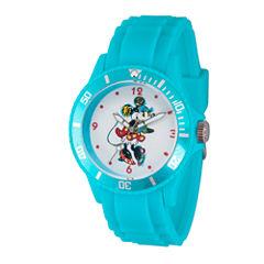 Disney Minnie Mouse Womens Blue Strap Watch-Wds000261