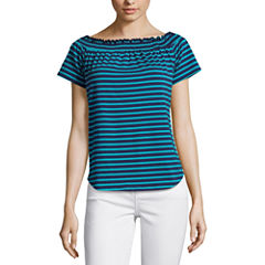 Liz Claiborne Short Sleeve T-Shirt-Womens