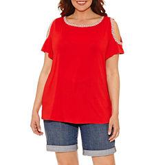 Liz Claiborne Short Sleeve Boat Neck T-Shirt-Womens Plus