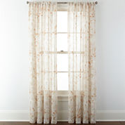 JCPenney Home™ Arbor Leaf Rod-Pocket Sheer Panel