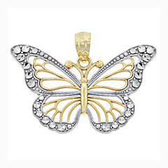 14K Two-Tone Gold Diamond-Cut Butterfly Charm Pendant