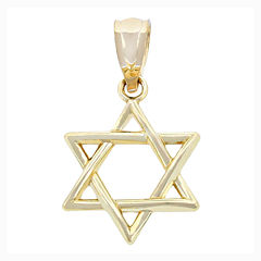 Religious Jewelry 14K Yellow Gold Star Of David Charm Pendant